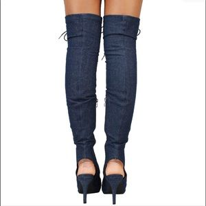 Forever Link Shoes - New Women Dk.Blue Fancy-9 Over Knee Boot Peep Toe